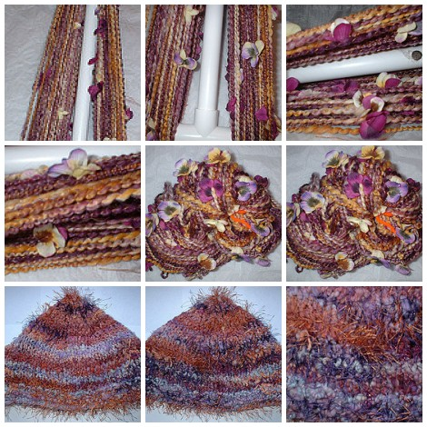 Sunset Gold Handspun Yarn & Arizona Sunset Knit Hat