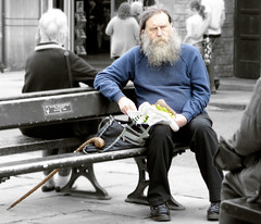 Alone (Bobshaw) Tags: street old man bench beard durham touchofcolour beginnerstreetphotography