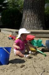 Emerson having fun in the sand box