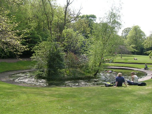 A central, but hidden feature of Edinburghs Queen Street Gardens is the farm pond which has its own wee island.