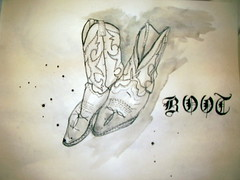 ink drawing (Brice Dean Sherrill) Tags: pen ink cowboy boots drawing oldenglish