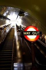 outofcolourground (hoolebronx) Tags: colour london station sign underground stair hoolebronx escalator tube steps illumination brass wayout uplight uplighter outofground