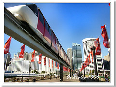 Monorail, Darling Harbour@Sydney (hk_traveller) Tags: trip travel red vacation color 20d topf25 canon photo interestingness interesting flickr harbour canon20d sydney australia traveller explore turbo monorail vanishing darling  douban top500 i500 view1000 turbophoto