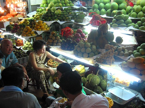 Tourists attacking the durian