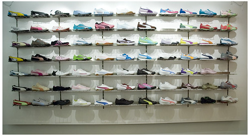 Puma Store wall of Shoes