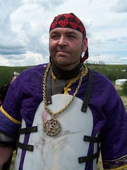 Vik (Beothuk) Tags: 2005 portrait sky people vw clouds volkswagen gold war funny purple sca quad vik chain knight gag sk smirk jewlery bling tacky viking gangsta marsden jewelled viscount avacal vvv quadwar gameson boreallis ironicals gangstasca