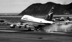 Wellington's first 747, 1981 (PhillipC) Tags: newzealand 1025fav airplane airport aeroplane wellington 1981 boeing 1111v11f 747sp vheaa