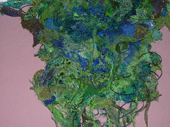Green Man (Julieanne Long - textile artist) Tags: textile art stitched textileartist textileart man long julieannelong julieanne green greenman artist mysterious dissolving fabric moulded milliners net millinersnet undergrowth