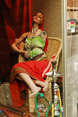 lost an arm but doesn't care (Vina the Great) Tags: doll etalagepop shop window waterpipe silly antwerp mannequin