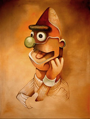 Portrait of Bert, After Rembrandt (boristheblade) Tags: oil oilpainting portrait painting bert ernie sesamestreet toys dolls surreal surrealism graffiti graff