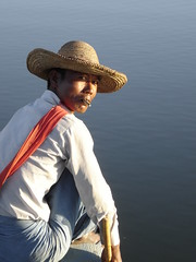 Fisherman on U Bein's Bridge, Myanmar (Dan Nevill) Tags: myanmar burma people fisherman lake cigar hat