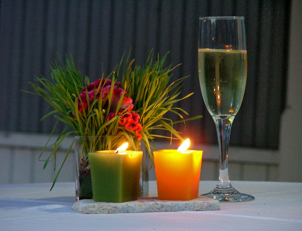 The 3 Cs of wedding receptions: candles, cockscomb, and champagne
