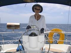 Expert Helmsman, Long Sail to Jost Van Dyke (Art's Photos) Tags: 2005 moorings bvi mom
