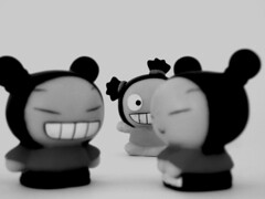 little people | peek 'a boo (macca) Tags: little people pucca inanimate bw trio smile peek teeth