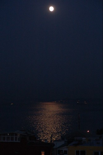 The moon over the Sea of Marmara
