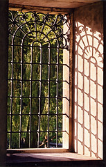 Trinity window, and on to the river (Dean Ayres) Tags: uk cambridge shadow england window wroughtiron trinitycollege willow creativecommons ironwork flickrzen punt interestingness172 explore21jul05 i500