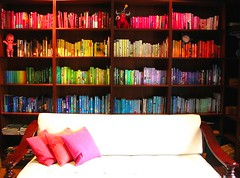 bookshelf (chotda) Tags: color colour home book topf50 spectrum interestingness1 books bookshelf residence bookcase bookshelves readingroom booksbycolor imdone homelibrary