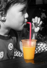 orange juice (naama) Tags: pink summer bw orange photomanipulation photoshop cutout israel seasons drink straw orangejuice edit plasticcup