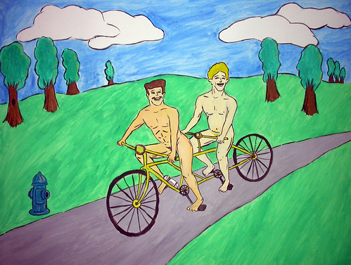 tandem-tronics -- bicycle painting cycle tandem hydrant naked nakedmen trees cyclin' men cyclin dudes