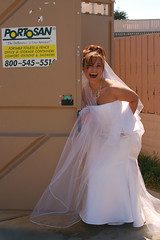 making a quick pit stop (jen clix) Tags: bride portopotty wedding humor portrait monterey california portabletoilet topv111
