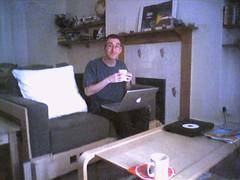 Paul with tea (Tom Insam (old)) Tags: blech paulmison canonburyroad piezo exif:missing=true