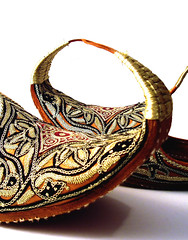 fancy footwear #3 (macca) Tags: footwear shoes golden pattern design curve uncomfortable whiteground khussa