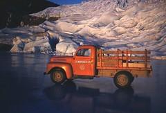 J B Warrack Truck on Mendenhall Glacier Frozen Lake, 1953-4