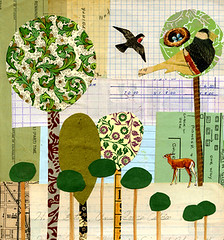 tallest tree print (Katey Nicosia) Tags: trees tree bird art birds animal animals collage illustration assemblage cream deer crop creamofthecrop mostfavorites