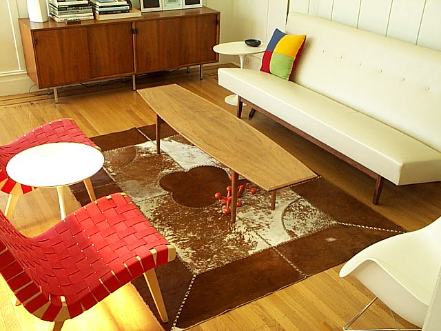 red white craigslist livingroom sofa rug sideboard plywood cowhide midcentury sidechair notforsalereferenceonly