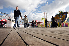 end brighton pier (lomokev) Tags: wood sky people clouds canon pier madera brighton julia fairground perspective ground rides holz hag eos1 brightonpier kageyb juey palacepier fileeos10205115 flickr:user=kageyb flickr:user=juey