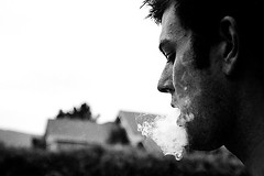 exhale (sam b-r) Tags: blackandwhite bw man male blancoynegro film cigarette smoke smoking s1501 sambrimages