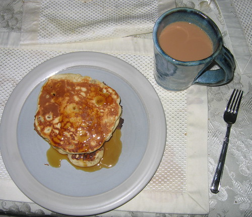 Walnut Pancakes and tea