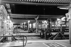 Tomorrow's Flotilla (wirehead) Tags: 2005 sf sanfrancisco city railroad urban blackandwhite bw 15fav film station night train dark geotagged caltrain tmax3200 glow darkness tmax grain tracks railway 35mmfilm stylus soma grainy geolat37775396 geolon122396622