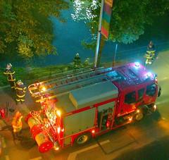 pompiers (Inspector Clay) Tags: firemen truck night river lights redlight bluelight firetruck nightshot strasbourg