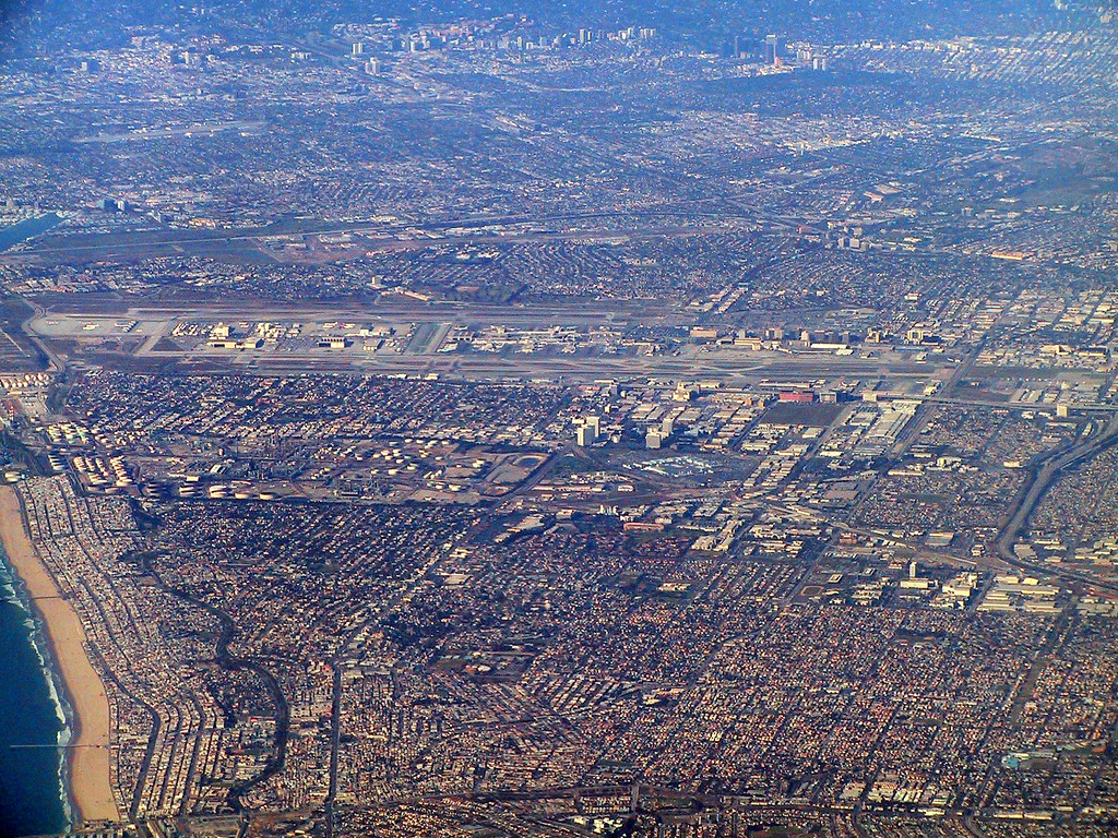 Zoomed View to LAX from Long Beach (Flying to Washington)