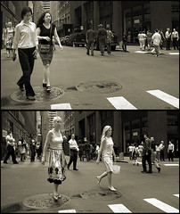 Moment to Moment (gaspi *yg) Tags: street sequence bw women tych moments tinted city urban nyc newyork newyorkcity photoshop optimized a2 2005 blackandwhite sthcsp sr92 sr101 gaspi