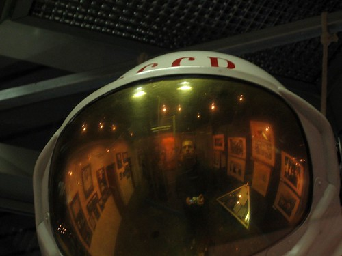The author, reflected in a space helmet