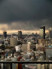 Osaka rainy day (Masahiro Makino) Tags: japan osaka grey sky circle building melt