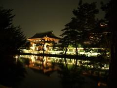 The South Great Gate  (Chica_Chubb) Tags: japan  nara  tokae  todaijitemple   temple  night  light  reflection  pond