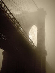 Bridge in Fog (gaspi *yg) Tags: brooklynbridge bw sepia nyc photoshop newyork fog a2 2004 optimized blackandwhite urban city bridge topc50 topf25 topf50 topf75 sr116 topf100 gaspi nycexpo 1in10f700v 1in10f900v 1in10f1000v