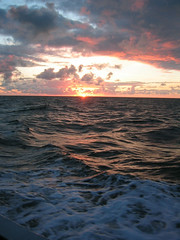 sunset at sea (squeezemonkey) Tags: sunset sea sky sun clouds waves horizon lundy