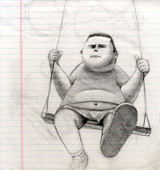 CHUBBY SWINGER KID (BIGAWK) Tags: portrait art illustration pencil sketch child drawing render character sketchbook swing study imagination characters draw gesture chubby thing3fff184c