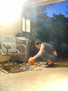 Amy working hard on her Pumpkin Creation