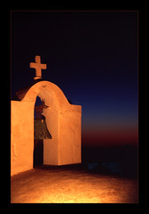 Bell (Walter Quirtmair) Tags: 2005 light red film church night bell chapel santorini greece swq takenbywalter oia eos300