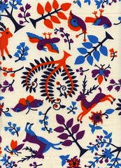 Vintage deer, birds, trees (Katey Nicosia) Tags: trees birds vintage wow deer fabric