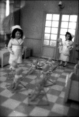 The room of day nursery (Aaltra) Tags: blackandwhite toy doll pentax nurse delta3200 3200 ilford arttoy plasticpeople