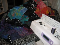 rainbow batik quilt on machine