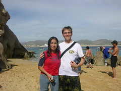 the beach (jazzian) Tags: ocean blue sky beach wet water smile mexico fun happy sand pretty embrace swimsuits cabosanlucas