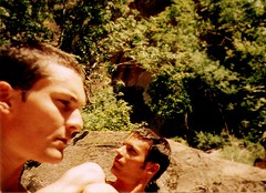 summer of '96 ([phil h]) Tags: travel summer people 15fav haircut film mike topc25 topv111 youth 1025fav 510fav 35mm utah ut topv555 topv333 warm 500plus phil topv1111 1996 topv444 young sunny guys olympus armslength topv222 scan topv666 zions youngmen philh
