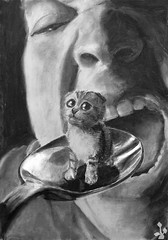 i love the taste of pussy in my mouth... (Yaronimus Maximus) Tags: charcoal art drawing pussy cat kitty